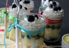 Lemon Blueberry Angel Food Cake in a Jar