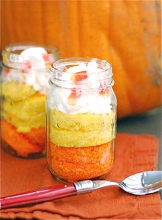 Candy Corn Cake in a Jar